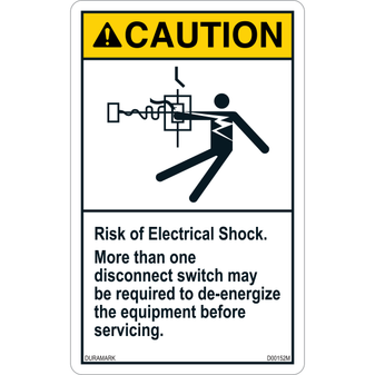 ANSI Safety Label - Caution - Risk of Electric Shock - More Than One Disconnect - Vertical