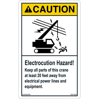 ANSI Safety Label - Caution - Electrocution Hazard - Keep Crane 20 Feet Away - Vertical
