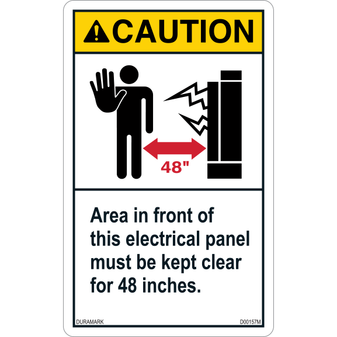 ANSI Safety Label - Caution - Electric Safety - Electric Panel - Keep Clear 48 inches - Vertical
