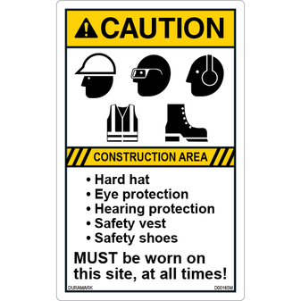 ANSI Safety Label - Caution - Construction Area - Hard Hat/Eye/Ear/Vest/Shoes - Vertical