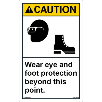 ANSI Safety Label - Caution - Eye/Foot Protection - Vertical