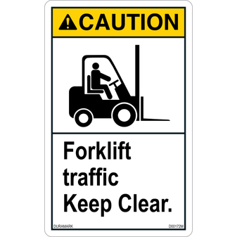 ANSI Safety Label - Caution - Forklift Traffic - Keep Clear - Vertical