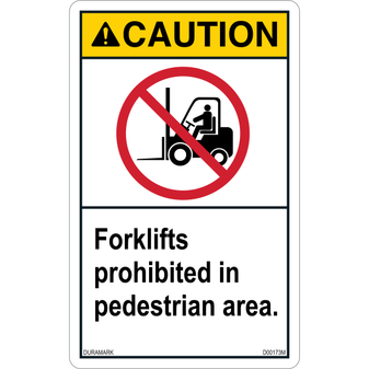 ANSI Safety Label - Caution - Forklift Prohibited - Pedestrian Area - Vertical