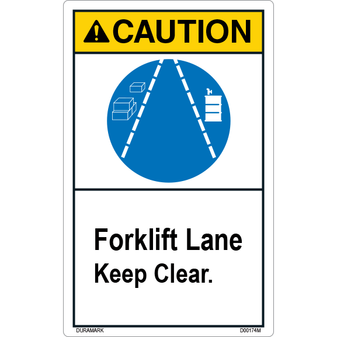 ANSI Safety Label - Caution - Forklift Lane - Keep Clear - Vertical