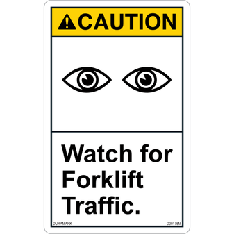 ANSI Safety Label - Caution - Watch for Forklift Traffic - Vertical