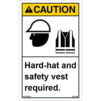 ANSI Safety Label - Caution - Hard Hat/Safety Vest Required - Vertical