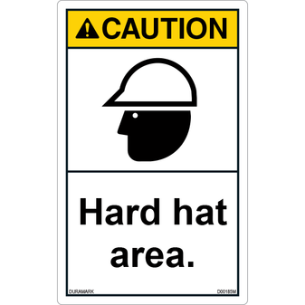 ANSI Safety Label - Caution - Hard Hat Area - Vertical