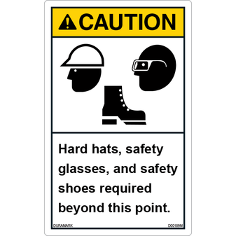 ANSI Safety Label - Caution - Hard Hat/Safety Glasses/Safety Shoes - Vertical