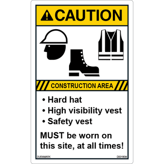 ANSI Safety Label - Caution - Hard Hat/High Visibility Vest/Safety Vest - Vertical