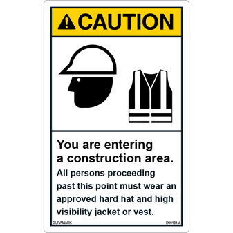 ANSI Safety Label - Caution - Hard Hat/High Visibility Vest - Construction Area - Vertical