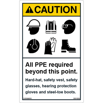 ANSI Safety Label - Caution - All PPE Required Beyond This Point - Vertical