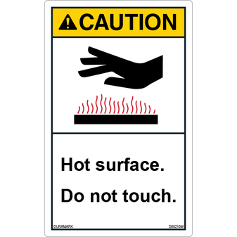 ANSI Safety Label - Caution - Hot Surface - Do Not Touch - Vertical