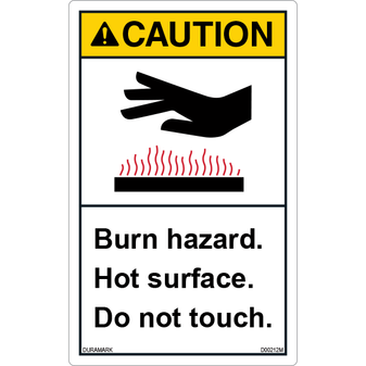 ANSI Safety Label - Caution - Hot Surface - Burn Hazard - Vertical
