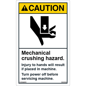 ANSI Safety Label - Caution - Mechanical Crushing Hazard - Turn Off Power - Vertical