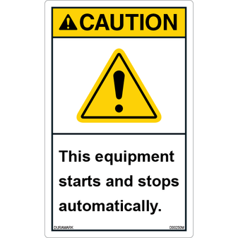 ANSI Safety Label - Caution - Equipment Starts and Stops Automatically - Vertical