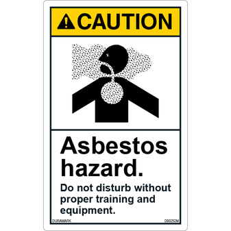 ANSI Safety Label - Caution - Asbestos Hazard - Do Not Disturb - Vertical