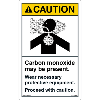 ANSI Safety Label - Caution - Carbon Monoxide Present - Wear Protective Equipment - Vertical
