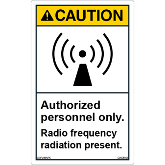 ANSI Safety Label - Caution - Radio Frequency Radiation Present - Authorized Personnel Only - Vertical