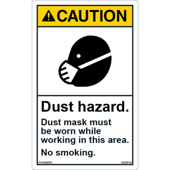 ANSI Safety Label - Caution - No Smoking - Dust Hazard - Vertical