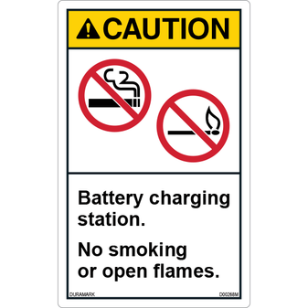ANSI Safety Label - Caution - No Smoking/Open Flames - Battery Charging - Vertical