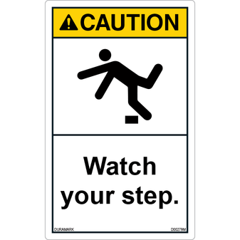 ANSI Safety Label - Caution - Watch Your Step - Tripping - Vertical