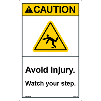 ANSI Safety Label - Caution - Watch Your Step - Avoid Injury - Vertical