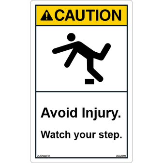 ANSI Safety Label - Caution - Watch Your Step - Tripping - Avoid Injury - Vertical
