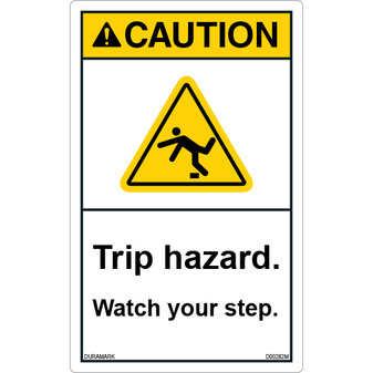 ANSI Safety Label - Caution - Watch Your Step - Trip Hazard - Tripping - Vertical