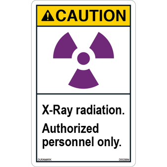 ANSI Safety Label - Caution - X-Ray Radiation - Authorized Personnel - Vertical