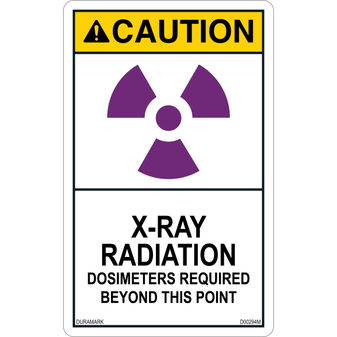 ANSI Safety Label - Caution - X-Ray Radiation - Dosimeters Required - Vertical
