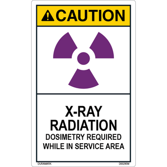 ANSI Safety Label - Caution - X-Ray Radiation - Dosimeters Required in Service - Vertical