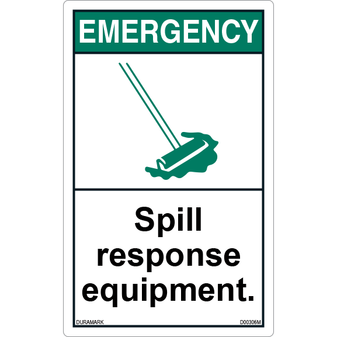 ANSI Safety Label - Important - Spill Response Equipment - Vertical