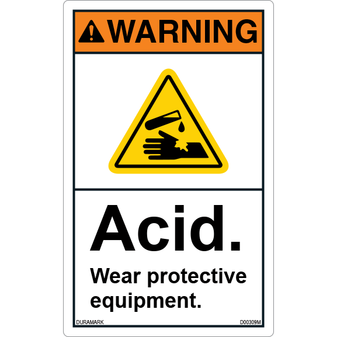 ANSI Safety Label - Warning - Acid - Wear Protective Equipment - Vertical