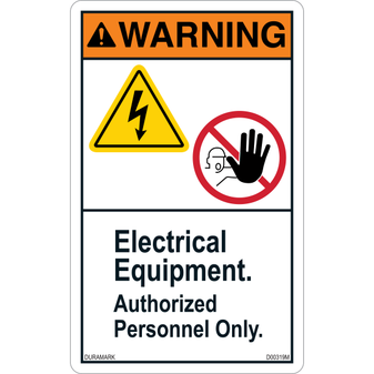 ANSI Safety Label - Warning - Electrical Equipment - Authorized Personnel - Vertical