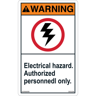 ANSI Safety Label - Warning - Electrical Hazard - Authroized Personnel - Vertical