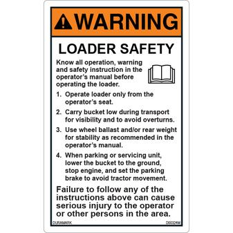ANSI Safety Label - Warning - Loader Safety - Instruction Manual - Vertical