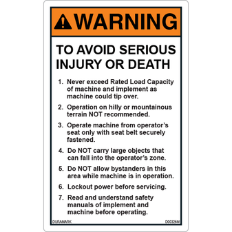 ANSI Safety Label - Warning - Backhoe and Excavator - Avoid Injury/Death - Vertical