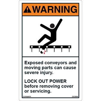 ANSI Safety Label - Warning - Conveyor Safety - Lock Out Power - Vertical