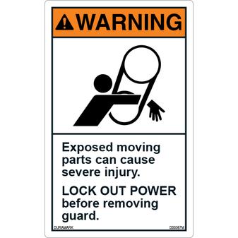 ANSI Safety Label - Warning - Conveyor Safety - Lock Out Power - Severe Injury - Vertical