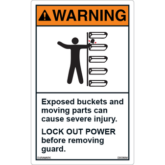 ANSI Safety Label - Warning - Conveyor Safety - Lock Out Power - Exposed Buckets - Vertical