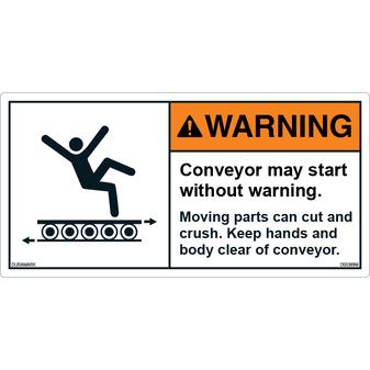 ANSI Safety Label - Warning - Conveyor Safety - Start Without Warning - Cut/Crush