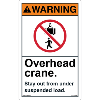 ANSI Safety Label - Warning - Overhead Crane - Stay Out from Suspended Load - Vertical