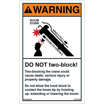 ANSI Safety Label - Warning - Crane Safety - Do Not Two-Block - Vertical