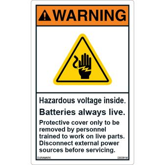 ANSI Safety Label - Warning - Hazardous Voltage Inside - Batteries Live - Vertical