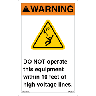 ANSI Safety Label - Warning - Electrical Safety - High Voltage Lines - 10 Feet - Vertical