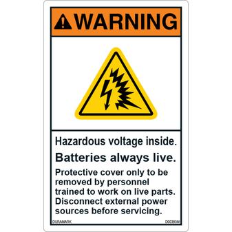 ANSI Safety Label - Warning - Electrical Safety - Hazardous Voltage - Vertical