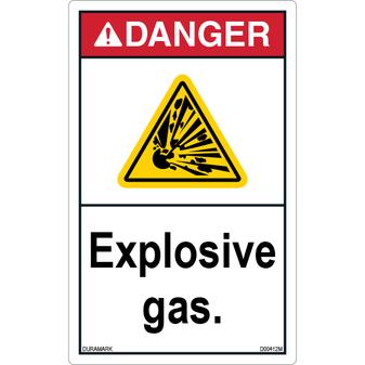 ANSI Safety Label - Danger - Explosive Gas - Vertical