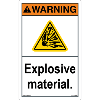 ANSI Safety Label - Warning - Explosive Material - Vertical