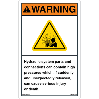 ANSI Safety Label - Warning - Explosive Material - Hydraulic System - Vertical