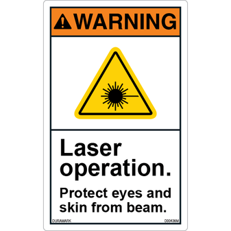 ANSI Safety Label - Warning - Laser Operation - Protect Skin and Eyes - Vertical